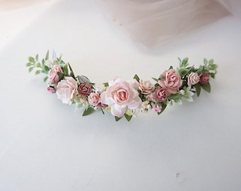 5c6ecde06 Floral blush wedding hair piece, blush greenery quarter wreath, pale pink hair  accessories, floral hair vine, bridal headpiece, qarter wrea