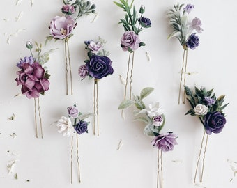 Flower Hair Clips Violet Hair Pieces Purple Bobby Pin Set Lilac Hair Pins for Buns Mauve Bridesmaid Hairpins H4111 Bridal Accessories