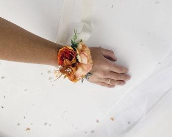 Bridesmaids rust corsages Wedding bracelets orange wrist corsages Floral wrist corsages Bridal bracelet Rust orange flower corsage
