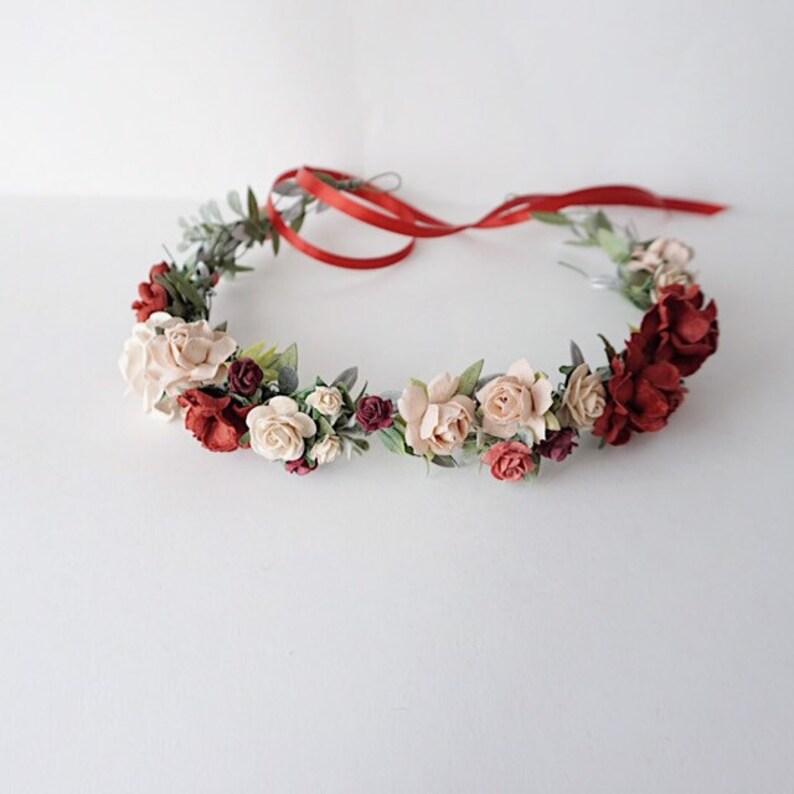 burgundy child greenery crown woodland crown maroon headband red rustic crown Deep red hair crown flowergirl crown greenery headband