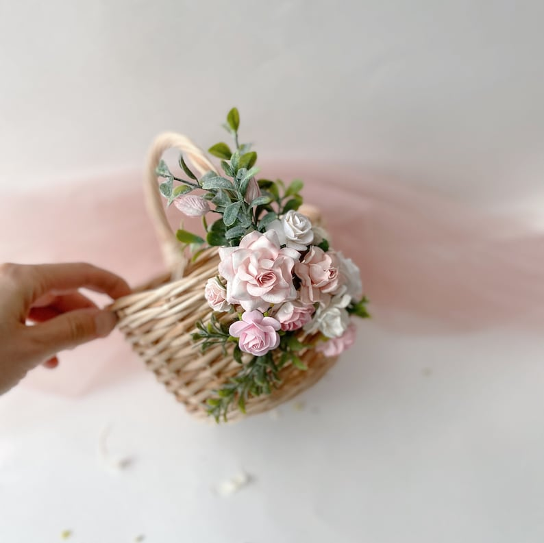 Set of blush pink basket and a headband peach baskets baskets with flowers rustic baskets wicker baskets small basket twig baskets