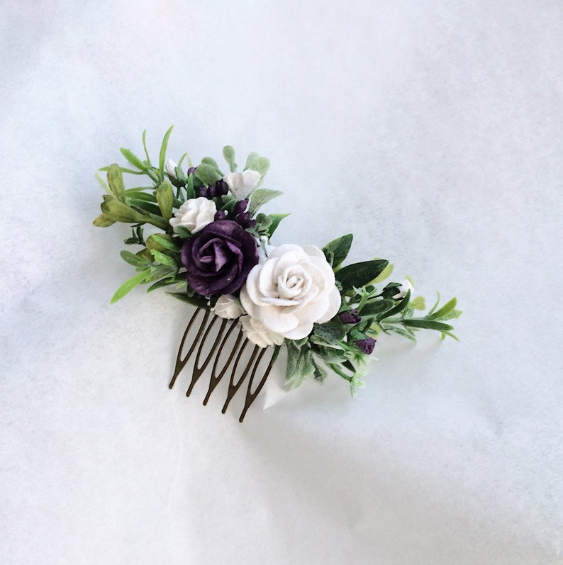 floral hair piece hair comb Plum and white hair piece Bridesmaids hair pieces blush and greenery headpiece purple and white hsir flowers