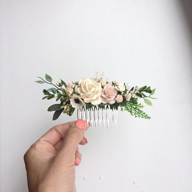 Blush wedding hair piece greenery hair accessories greenery comb, bridal headpiece floral hair vine blush and ivory flower hair clip