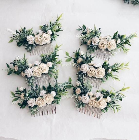White Flowers Hair Comb Bridal Floral Cpmb White And Green Etsy