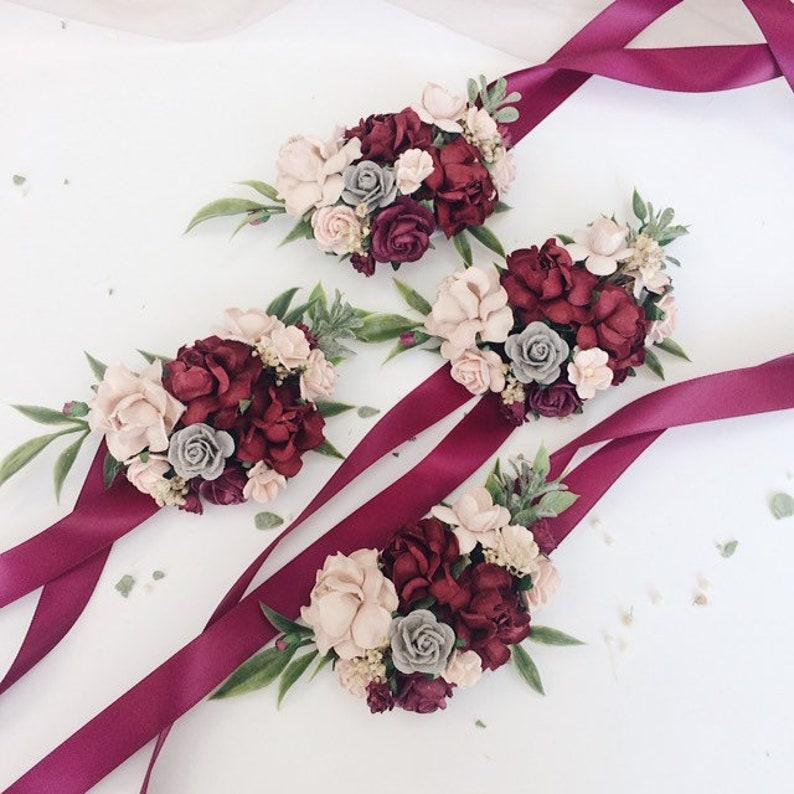 Floral wrist corsages Wedding bracelets Bridesmaids corsages Maroon wrist corsages Bridal bracelet, Burgundy and gray flower corsage