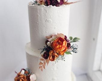 Wedding cake topper (per one), burgundy rust orange cake flowers, burgundy cake toppers, flower cake topper, floral cake topper, rust orange