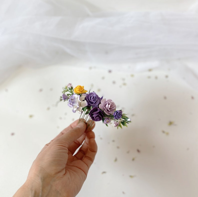 purple yellow comb lilac hair comb wedding Small hair comb bridesmaids combs purple yellow purple hairpieces