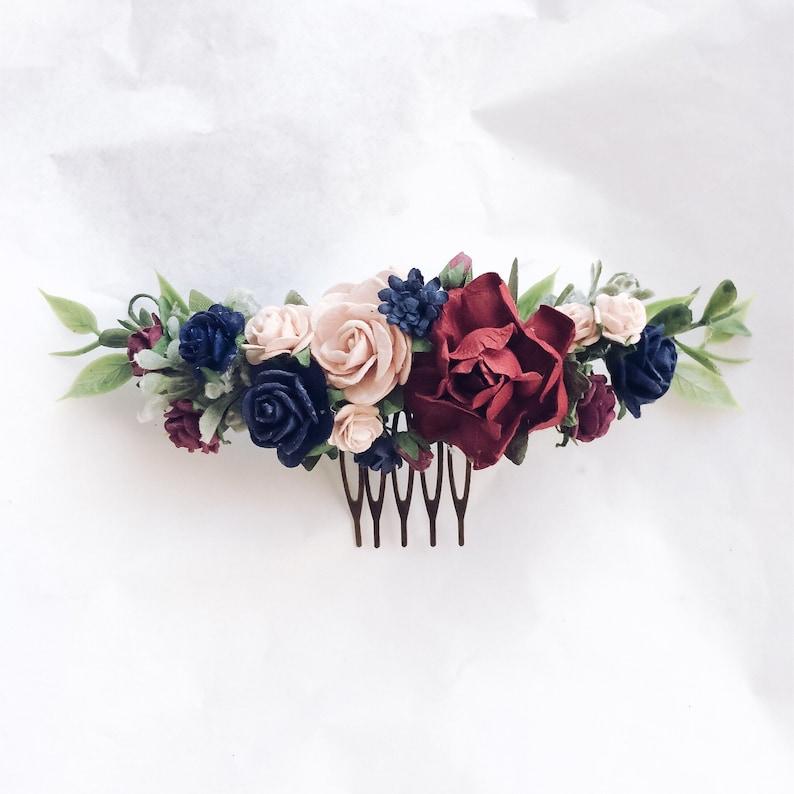 Bridal headpiece Burgundy wedding flower comb Wedding flowers Maroon dusty pink floral comb