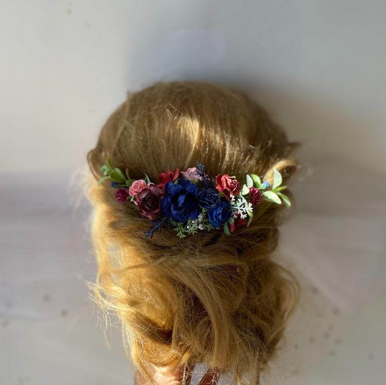 burgundy wedding hair piece navy and burgundy hair comb Navy burgundy hair comb deep red white flower hair navy red hairpiece