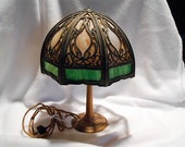 Antique Aladdin Brass Lamp No. 3 with Stained Glass or Slag Glass Lamp Shade, c. 1920