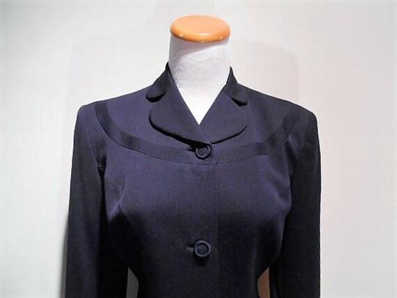 Vintage Navy Blue Wool Worsted Jacket or Sport Coa