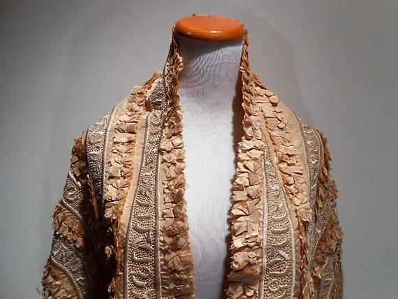 Victorian Shawl, Silk Chinoiserie Fringed Shawl or