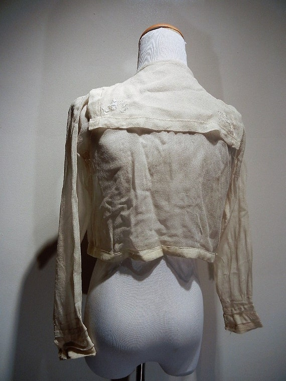 Antique Edwardian Embroidered Silk Blouse Shirt S… - image 4