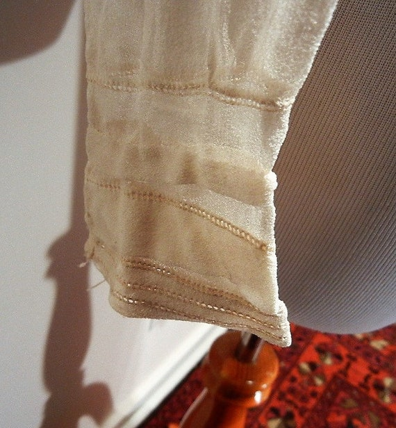 Antique Edwardian Embroidered Silk Blouse Shirt S… - image 7