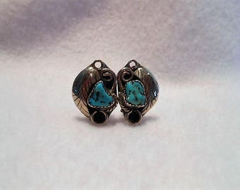 Vintage Navajo Turquoise and Leaf Clip Earrings, c. 1970
