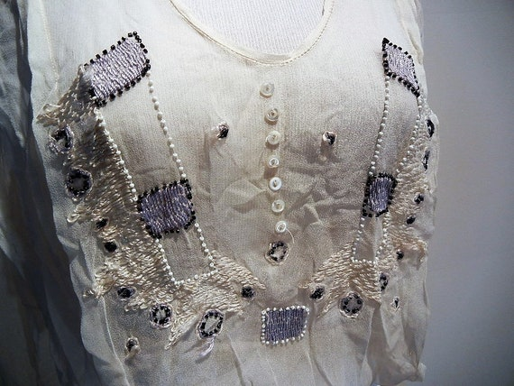 Antique Edwardian Embroidered & Beaded Silk Blous… - image 3
