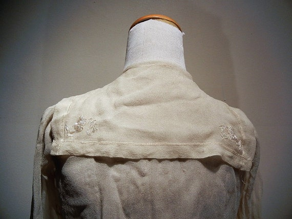 Antique Edwardian Embroidered Silk Blouse Shirt S… - image 3