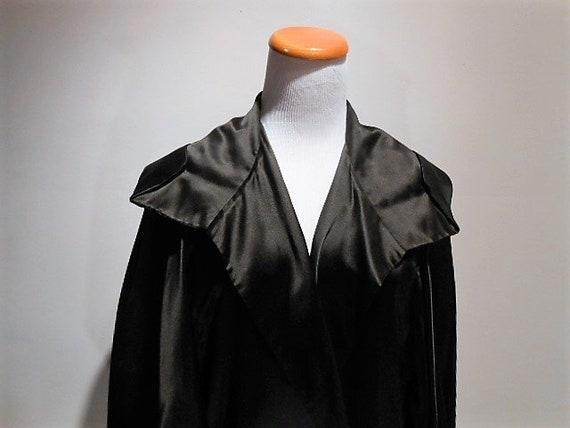 Vintage Black Silk Flapper Cape or Cocoon Coat, In