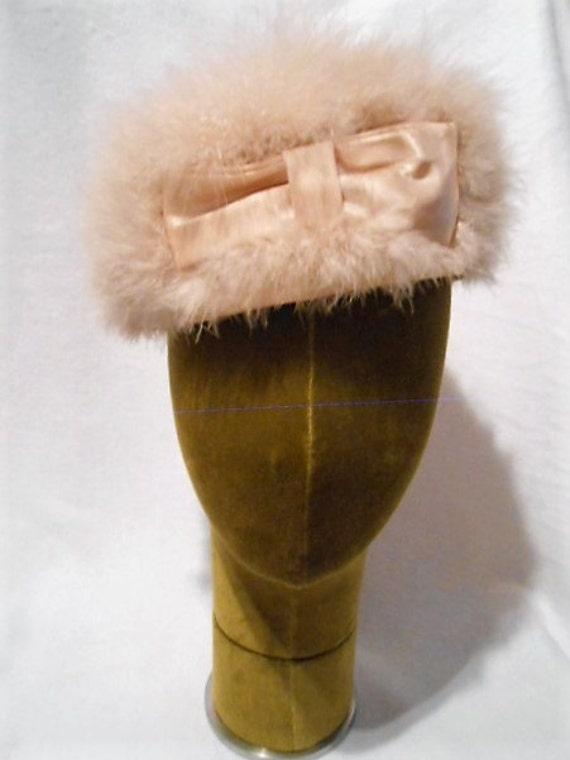 Vintage Hat, Fluffy Pink Marabou Feather Jo, Giova