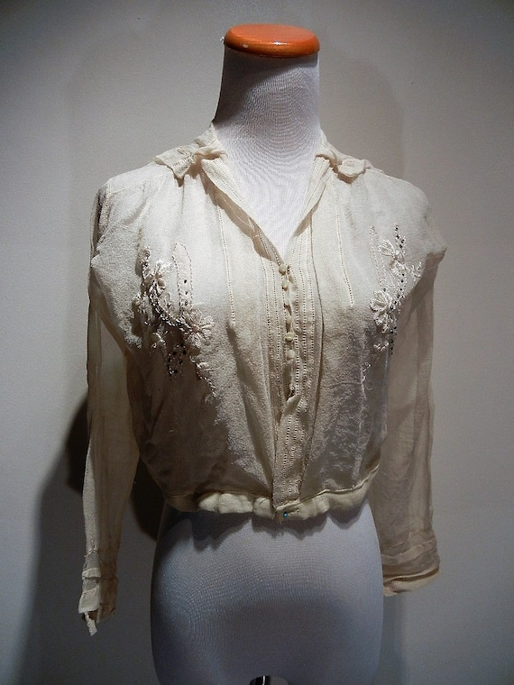 Antique Edwardian Embroidered Silk Blouse Shirt S… - image 2