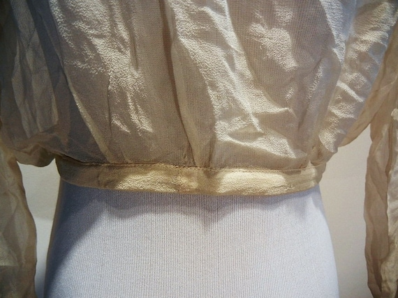 Antique Edwardian Embroidered & Beaded Silk Blous… - image 9
