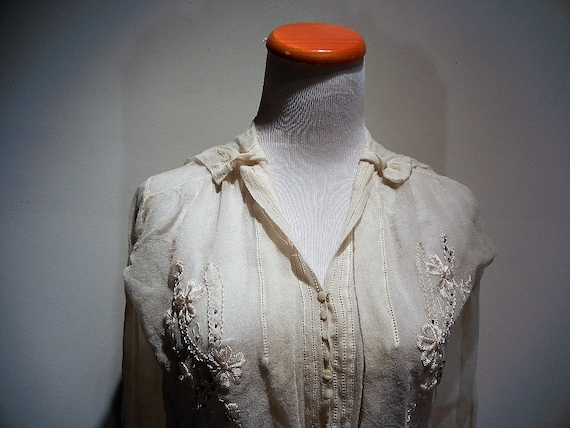 Antique Edwardian Embroidered Silk Blouse Shirt S… - image 1