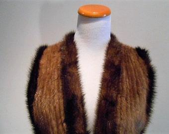 Vintage Lunaraine Ribbed Mink and Leather Fur Vest, c. 1980