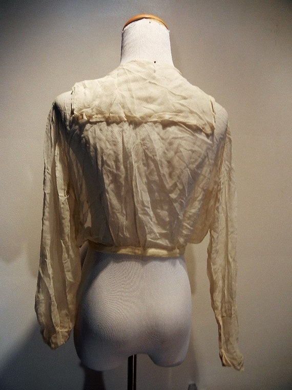 Antique Edwardian Embroidered & Beaded Silk Blous… - image 8