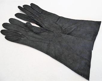 Vintage Henri Bendel Mid-arm Length Black Sueded Extra Fine Kidskin Gloves, Made In France, Size 6, c. 1950