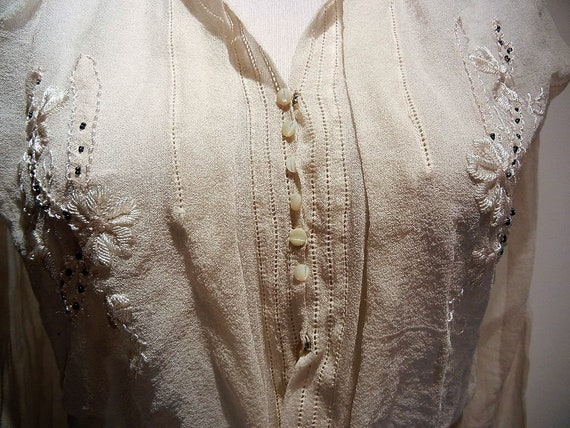 Antique Edwardian Embroidered Silk Blouse Shirt S… - image 8