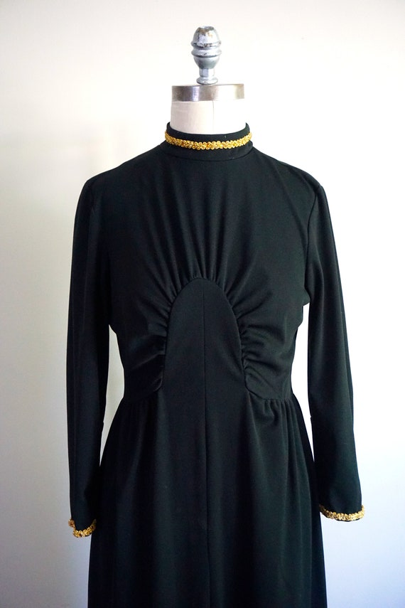 1970s Black Middy Dress