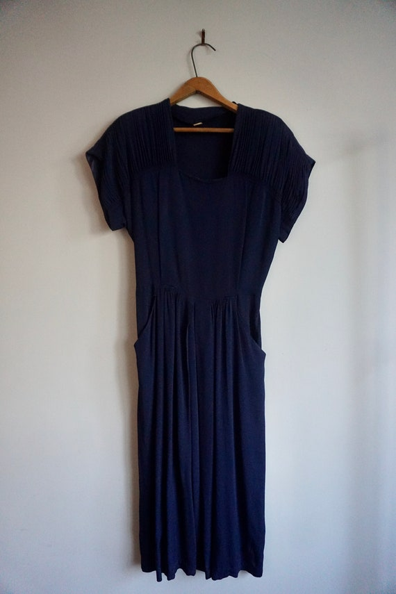 1940s Navy Dress with pockets