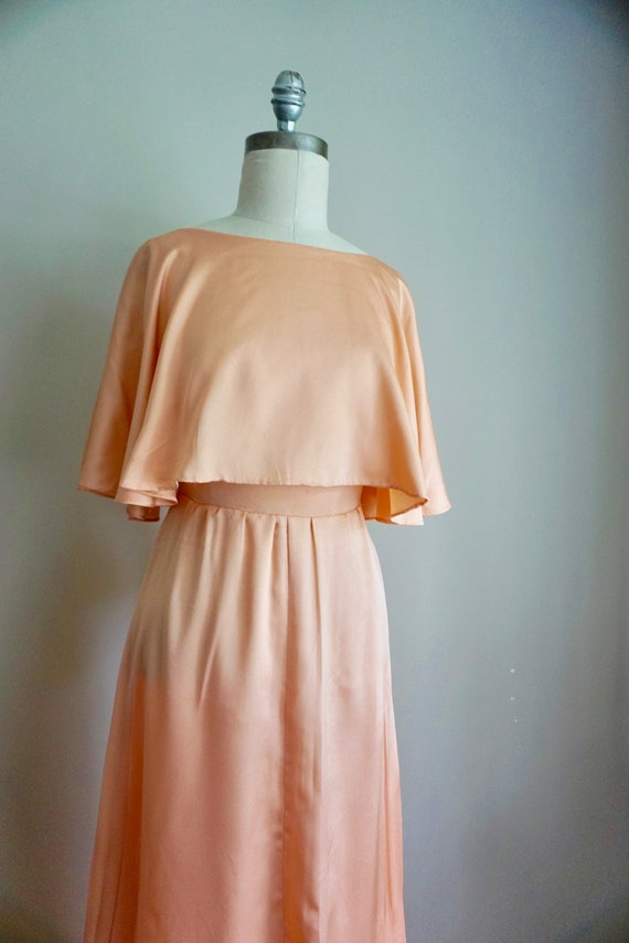 1970s Silky Peach Dress