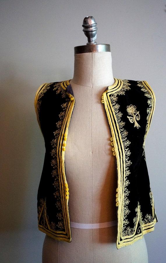 Vintage Velvet Vest With Gold Embroidery