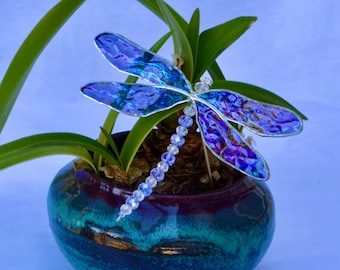 Stained Glass Dragonfly Plant Stake with Crystal Body and Iridescent Wings ~ Home, Patio or Garden Decoration ~ Original Design Glasswork
