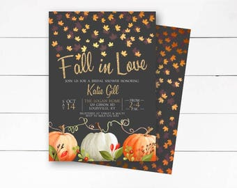 fall in love bridal shower invitation rustic fall invitation fall bridal shower autumn invite falling in love printable or printed