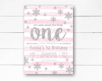 Winter Onederland Invitation 1st Birthday Snow Much Fun Being One Party DIY Or Printed Invite