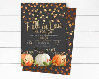 Fall In Love Baby Shower Invitation Rustic Autumn Invite Falling Printable Or Printed