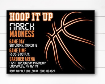 March Madness Invitation Basketball Theme Party Birthday DIY Or Printed