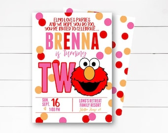 Elmo Birthday Invitation Second Invite Sesame Street Party DIY Or Printed