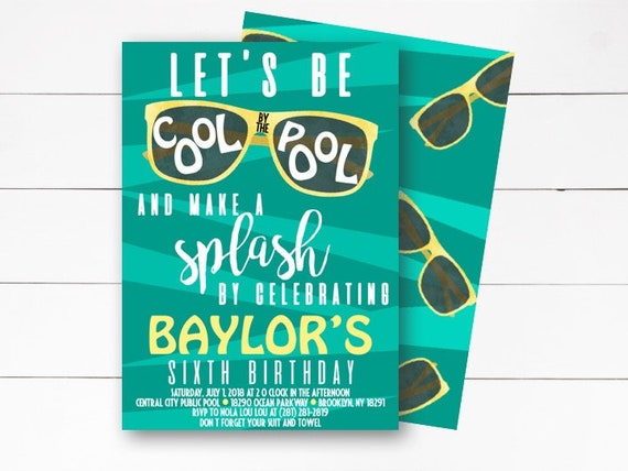 let u0026 39 s be cool by the pool birthday invitation pool party