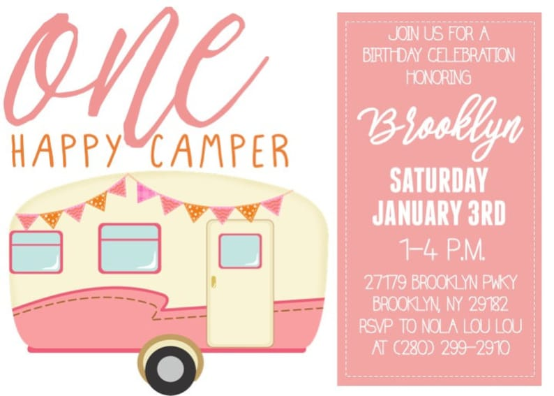 One Happy Camper Invitation, 1st Birthday Invitation, Camping Invitation,  1st Birthday Party, Girl 1st Birthday Party, DIY or Printed Invite