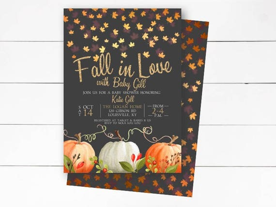 fall in love baby shower invitation rustic fall invitation etsy