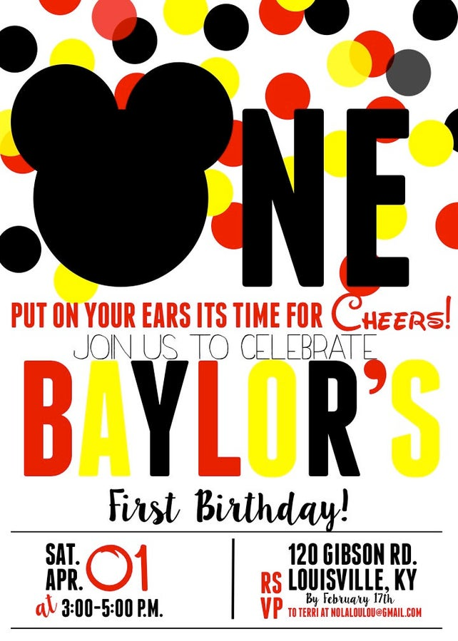Mickey Mouse First Birthday Invitation 1st Boy DIY Or Printed Invitations