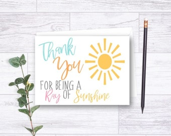 DOWNLOADABLE You Are My Sunshine Thank You Card, Ray of Sunshine Thank You, Sunshine Thank You Card, Thank You Card, Matching Thank You Card