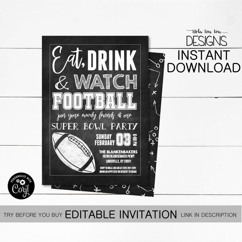 Super Bowl Party Invitation Football Party Invitation Etsy