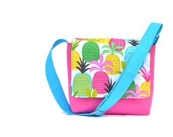 Crossbody Bag Pineapples, Kids Bags, Girls Messenger Bag,  Kids Messenger Bag, Small Messenger Bag, Kids Novelty Bag