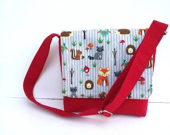 Boys Messenger Bag, Kids Messenger Bag, Kids purse, Red Messenger Bag, Forest Animal print