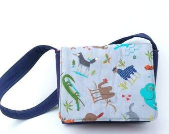 Toddler Messenger Bag, Kids Messenger Bag, Boy Bags, Small Crossbody, Jungle Animals Bag,  Blue and Grey Animals Bag, Kids Tote Bag