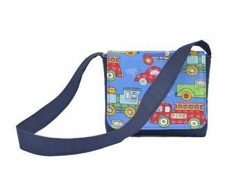 Boy Toddler Messenger Bag Kids Bag Blue and Red Cars and Trucks, Truck Bag, Fire Truck Bag, Boys Bag